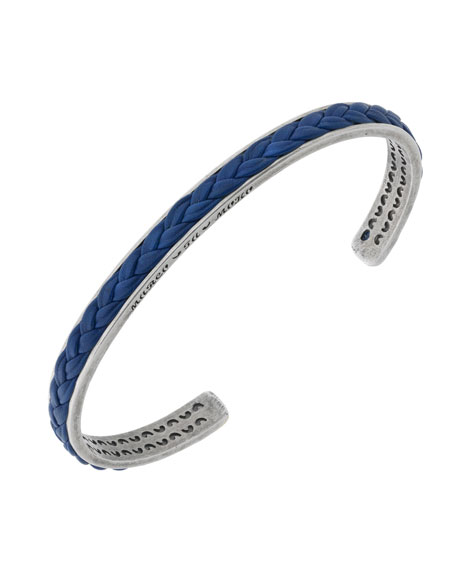 Men's Braided Leather/Silver Kick Cuff Bracelet, Blue