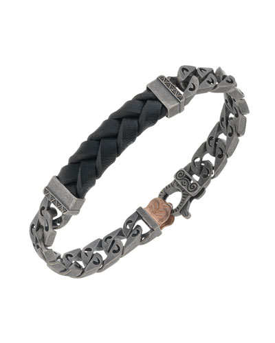 Men's Woven Leather/Silver Chain Bracelet w/ 18k Gold-Plated Clasp, Black