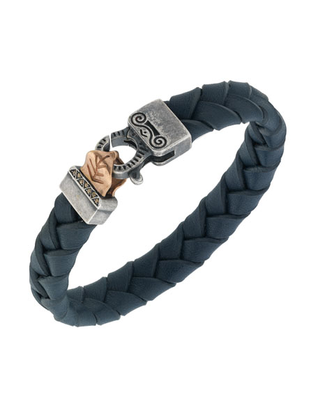 Men's Woven Leather Bracelet w/ Rose Gold-Plated Clasp, Blue