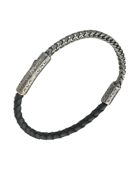 Men's Sterling Silver & Leather Bracelet, Black