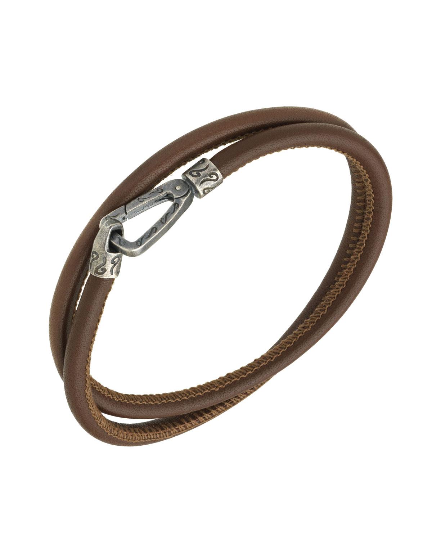 Marco Dal Maso Mens Leather 4-Wrap Bracelet, Blue