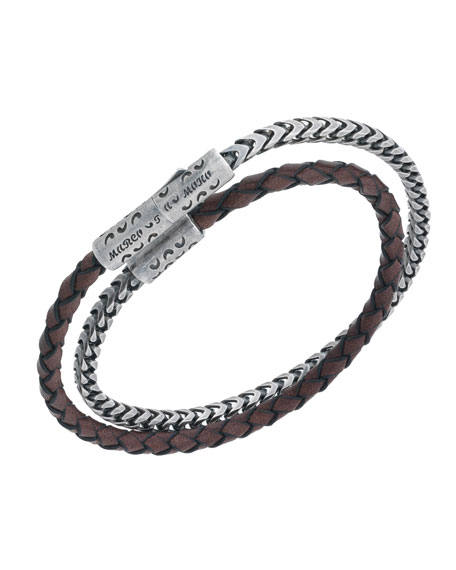 Men's Lash Sterling Silver & Leather Wrap Bracelet