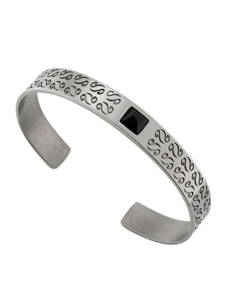Marco Dal Maso Mens Braided Leather/Silver Kick Cuff Bracelet, Black