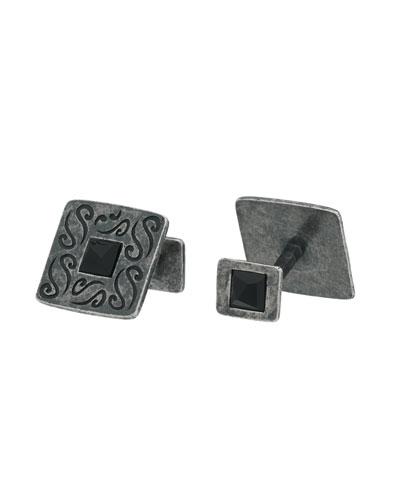 Vintage Silver Cufflinks w/ Black Onyx