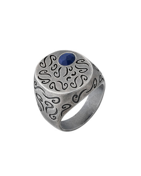Men's Round Oxidized Silver Ring with Lapis, Size 11