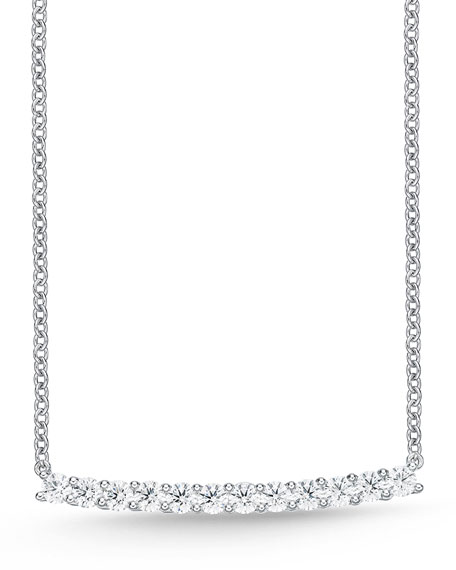 18k White Gold Large Diamond Bar Pendant Necklace