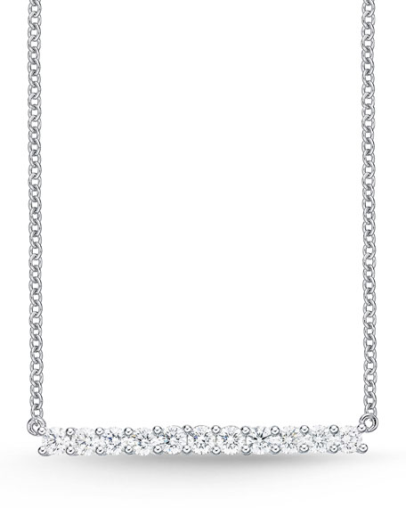 18k White Gold Medium Diamond Bar Pendant Necklace