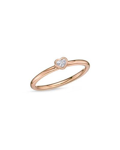 18k Rose Gold Heart Diamond Stack Ring, Size 6.5