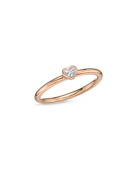 18k Rose Gold Heart Diamond Stack Ring, Size 6.5