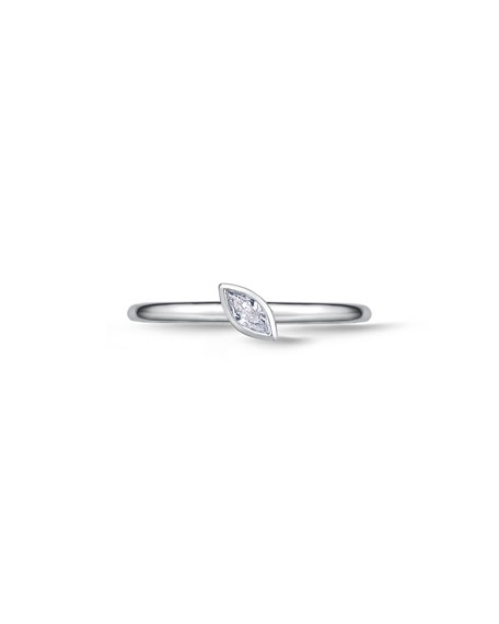 18k White Gold Diamond Marquise Stack Ring, Size 6.5