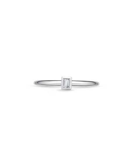 18k White Gold Brilliant-Cut Diamond Stack Ring, Size 6.5