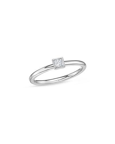 18k White Gold Princess-Cut Diamond Stack Ring, Size 6.5