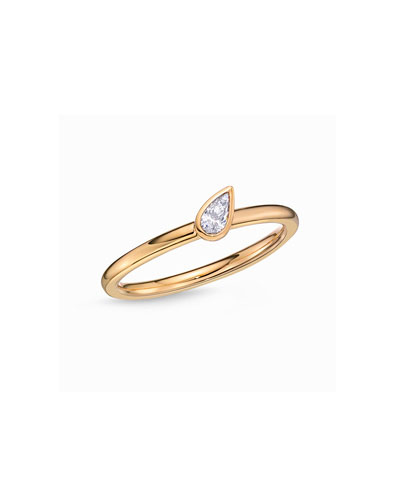18k Yellow Gold Pear Diamond Stack Ring, Size 6.5
