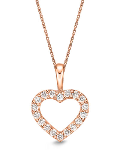 18k Rose Gold Diamond Heart Pendant Necklace
