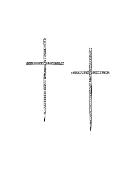 Sheryl Lowe Silver Spike Cross Pavé Diamond Earrings TNwPsoOes