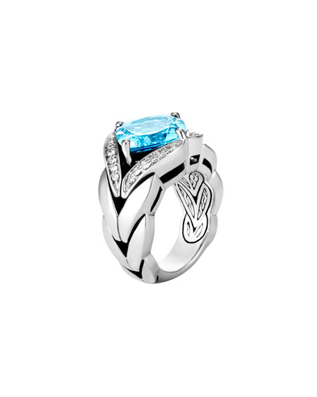 Modern Chain Silver Diamond Pave Magic Cut Ring with Blue Topaz, Size 6