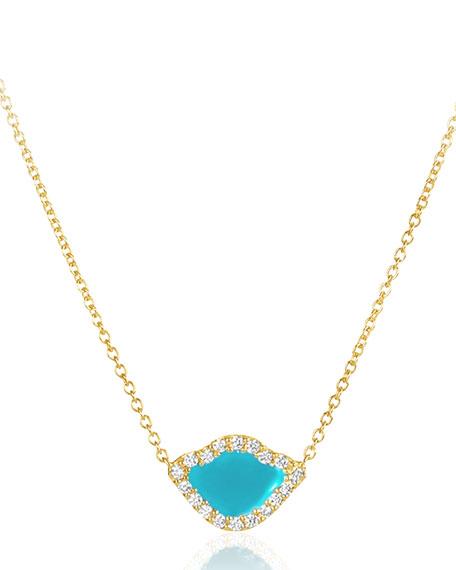 """18k Gold Kamalini Lotus Necklace w/ Diamonds & Turquoise Enamel, 16"""""""