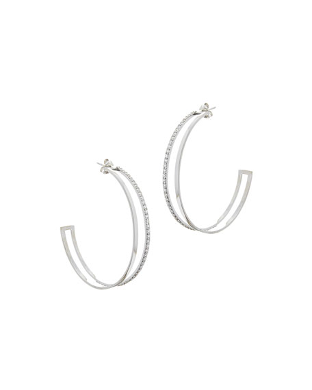 14k White Gold Large Flawless Dare Hoop Earrings w/ Diamonds