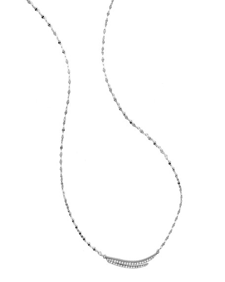 Expose Diamond Charm Necklace in 14k White Gold