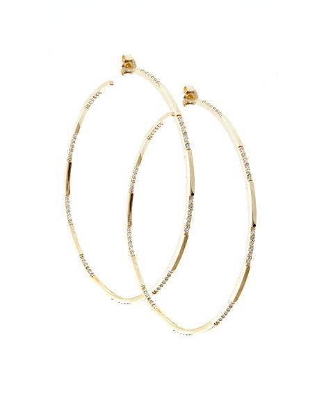 14k Gold Expose Large Diamond Hoop Earrings