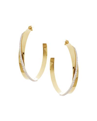 14k Gold Large Vanity Expose Diamond Hoop Earrings