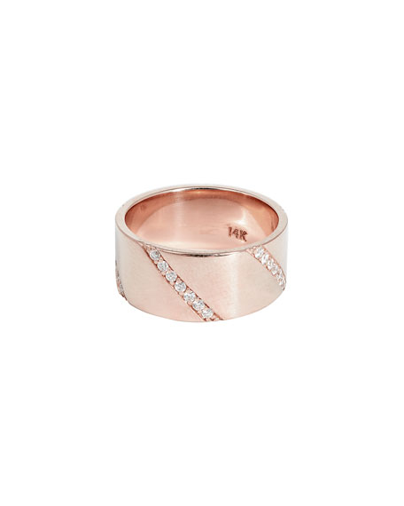 Flawless Expose Wide Diamond Band Ring in 14k Rose Gold, Size 7