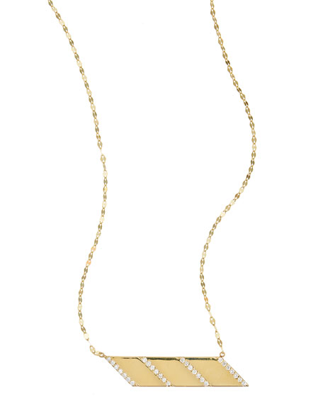 14k Gold Expose Diamond Bar Charm Necklace