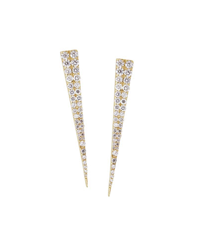 14k White Gold Diamond Spike Stud Earrings