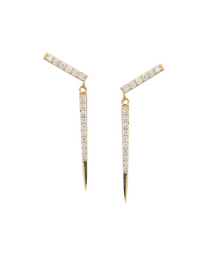 14k Yellow Gold Flawless Diamond Spike Earrings
