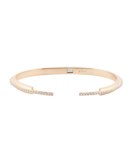14k Rose Gold Stacked Cuff Bracelet w/ Diamond Pavé