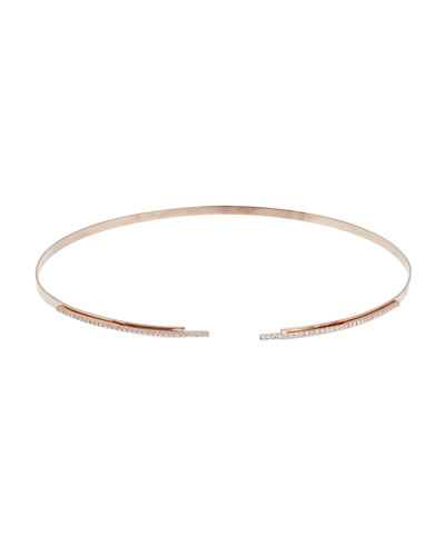 Stacked Choker Necklace w/ Diamond Pavé, 14k Rose Gold
