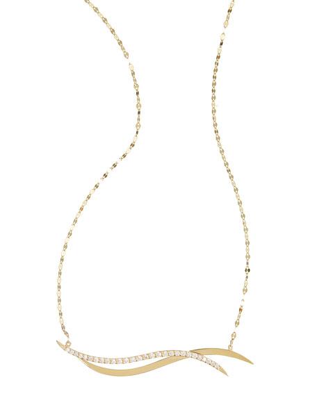 Wavelength 14k Gold Diamond Bar Necklace