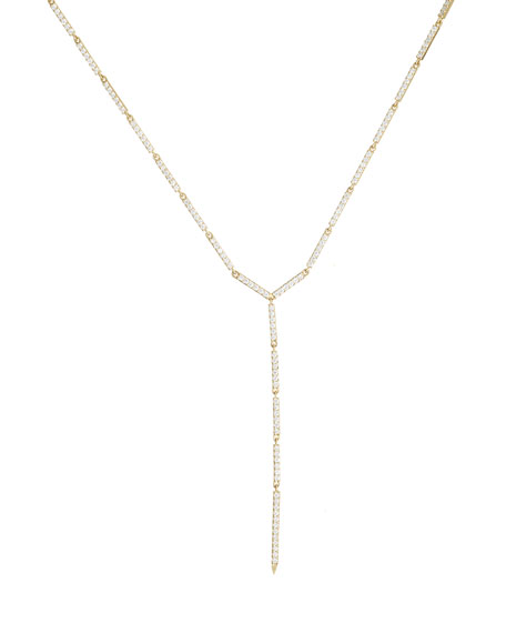 14k Gold Mega Electric Diamond Bar Lariat Necklace, 18""