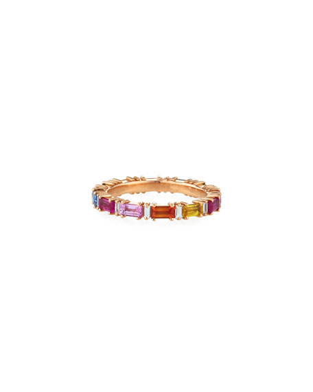 18k Rose Gold Eternity Diamond & Rainbow Sapphire Band Ring