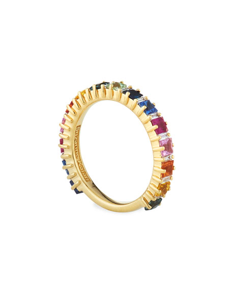Emily 18k Yellow Gold Rainbow Sapphire & Diamond Band Ring