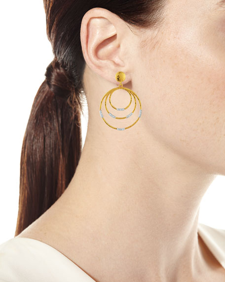 22k Gold Delicate Geo Round Drop Earrings w/ Diamonds