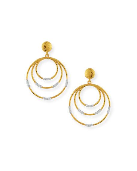 22k Gold Delicate Geo Round Drop Earrings w/ Diamonds
