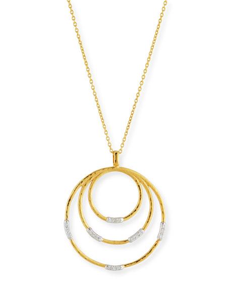 "22k Gold Delicate Geo Round Pendant Necklace w/ Diamonds, 18"""