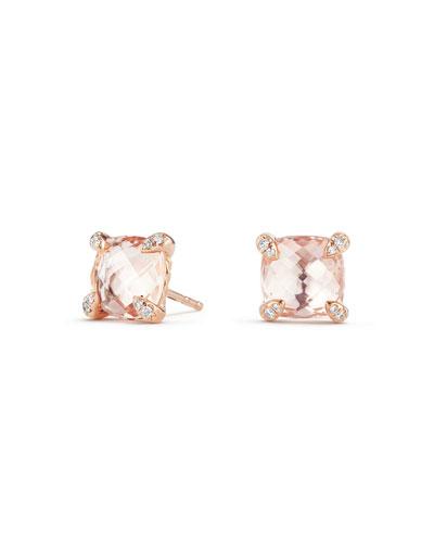Châtelaine 18k Rose Gold Stud Earrings w/ Morganite