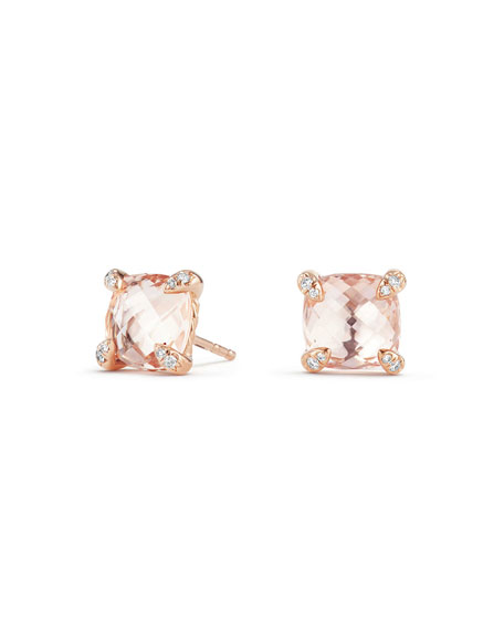 Châtelaine 18k Rose Gold Stud Earrings w/ Morganite