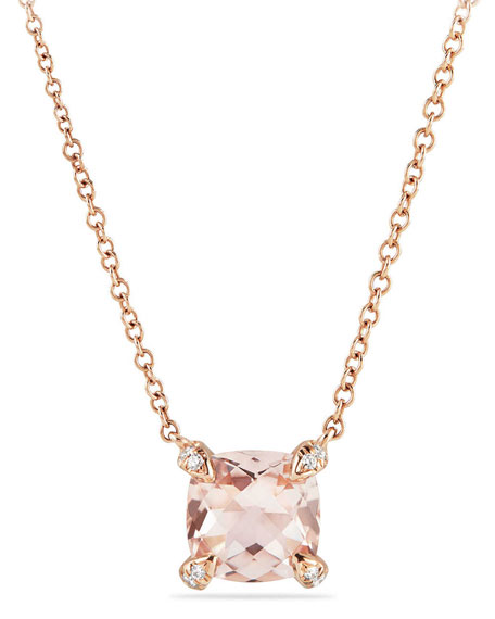 Châtelaine 18k Rose Gold Necklace w/ Morganite, 18""