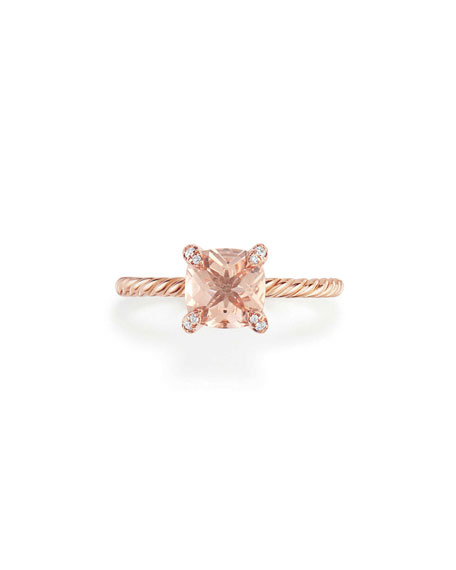 Châtelaine Rose Gold  Ring with Morganite & Diamonds, Size 7