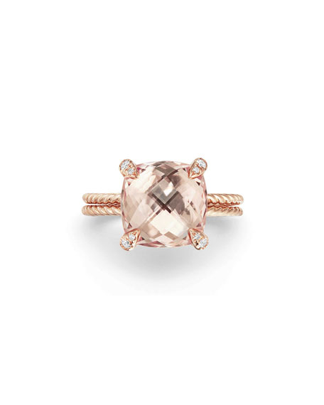 Châtelaine 11mm Rose Gold  Ring with Morganite & Diamonds, Size 5