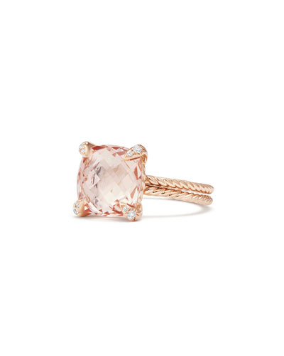 Châtelaine 11mm Rose Gold  Ring with Morganite & Diamonds, Size 7