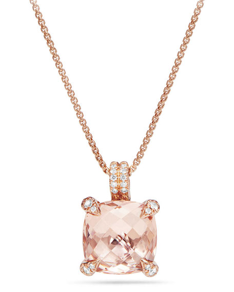 Châtelaine 18k Rose Gold Pendant Necklace w/ Morganite & Diamonds
