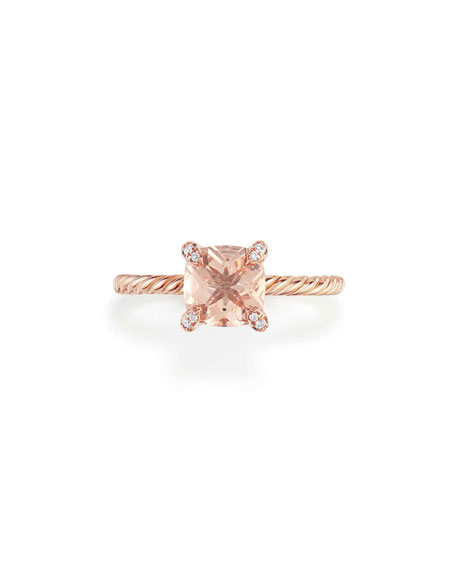Châtelaine Rose Gold  Ring with Morganite & Diamonds, Size 6