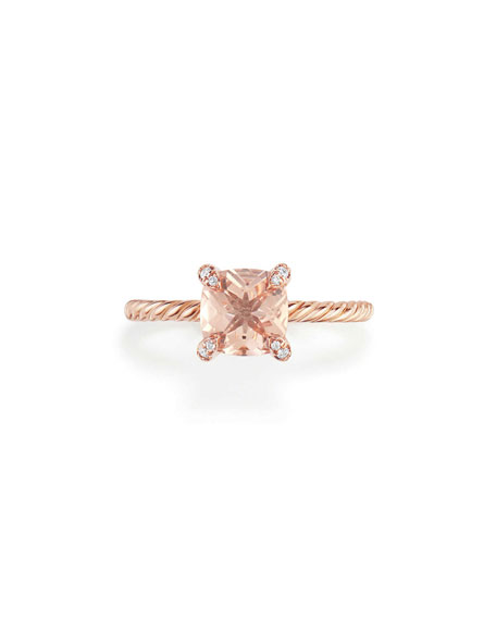 Châtelaine Rose Gold  Ring with Morganite & Diamonds, Size 5