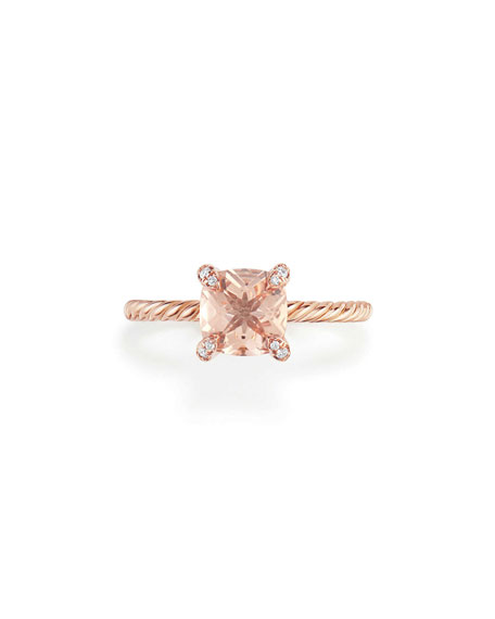Châtelaine 7mm Rose Gold  Ring with Morganite & Diamonds, Size 9