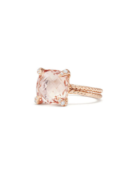 Châtelaine 11mm Rose Gold  Ring with Morganite & Diamonds, Size 9