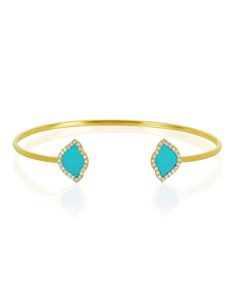 18k Gold Nalika Lotus Cuff Bracelet w/ Diamonds & Turquoise Enamel, 0.374tcw